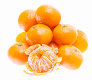 Peeled mandarin tangerine orange fruit isolated on white backgro Stock Photography