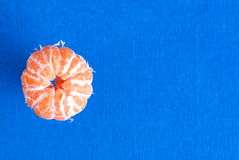 Peeled Mandarin, top view, space for text Royalty Free Stock Photos