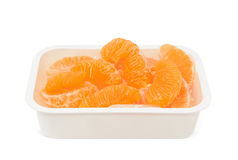 Peeled mandarins in case isolated on white Royalty Free Stock Photos