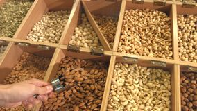 Peeled nuts and seeds in boxes. Slow motion. Horizontal pan  from right to left stock footage