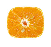 Peeled off square slice of orange Royalty Free Stock Photo