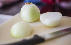 Peeled onion. Close up on white board Royalty Free Stock Photos
