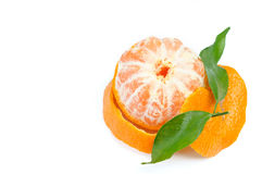 Peeled orange fruit on white background Stock Photography