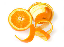 Peeled orange isolated on white Royalty Free Stock Photography