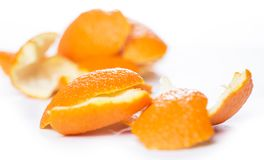 Peeled orange and its skin Stock Photography