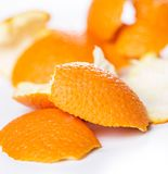 Peeled orange and its skin Royalty Free Stock Photo