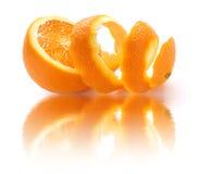 Peeled orange and reflection royalty free stock image