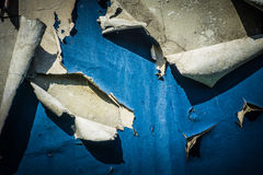 Peeled paint with blue colour on a brick wall due to bad weather photo taken in Jakarta Indonesia Stock Images
