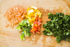 Peeled paprika and carrot with parsley Stock Photo