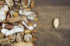 Peeled peanut, nutshells Royalty Free Stock Photos