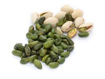 Peeled pistachio Stock Images