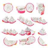 Peeled Pitaya or Dragon Fruit isolated against white background. Royalty Free Stock Images
