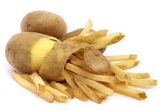 Peeled potato and french fries. Concept isolated on white Royalty Free Stock Photo