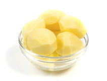 Peeled potatoes in a glass bowl Royalty Free Stock Photography