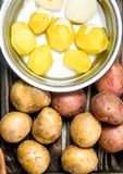 Peeled potatoes in a pot and fresh potatoes royalty free stock photo