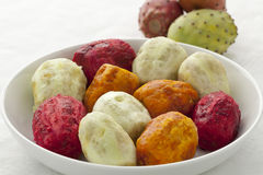 Peeled Prickly Pear Fruit close up Stock Photography
