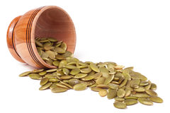 Peeled pumpkin seeds in a bowl Royalty Free Stock Photography
