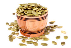Peeled pumpkin seeds in a bowl Stock Image