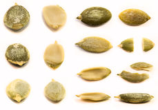 Peeled pumpkin seeds isolated Stock Photos