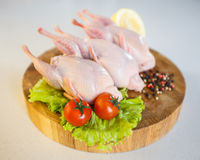 Peeled raw whole quail on wooden round board on white background. Royalty Free Stock Photo