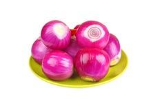 Peeled red onion Stock Photos