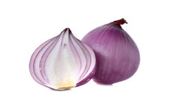 Peeled red onion, shallots on white Stock Photo