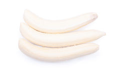 Peeled ripe banana isolated on a white background with shadow Royalty Free Stock Photos
