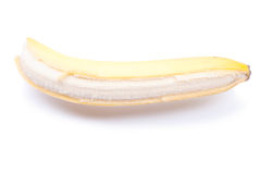 Peeled ripe banana isolated on a white background with shadow Stock Images