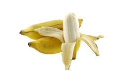Peeled ripe Nam Wah Banana Royalty Free Stock Photos