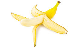 Peeled ripe yellow banana isolated on white Stock Photo