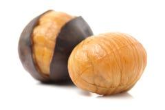 Peeled roasted chestnut royalty free stock photos