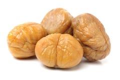Peeled roasted chestnut Stock Photos