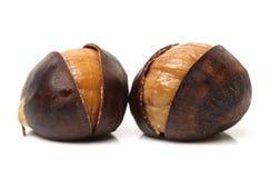 Peeled roasted chestnut. Chinese food, peeled roasted chestnut on white background Stock Photos