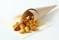 Peeled roasted chestnuts Royalty Free Stock Images