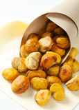 Peeled roasted chestnuts Stock Photos