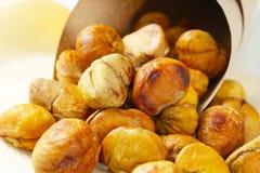 Peeled roasted chestnuts Stock Image