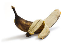 Peeled rotten banana Stock Photos