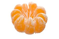 Peeled satsuma segments Stock Photo