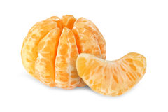 Peeled segments of tangerine fruits isolated. On white background Royalty Free Stock Photo