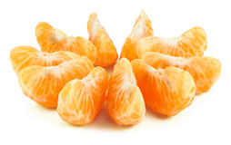 Peeled segments of tangerine Stock Photos