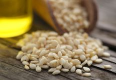 Peeled sesame seeds with oil. On natural surface Royalty Free Stock Photography