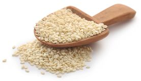 Peeled sesame seeds. Over white background Stock Photography