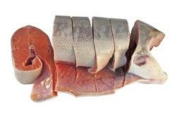 Peeled and sliced coho salmon Stock Images