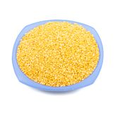Peeled Split Mung bean. Yellow Peeled Split Mung bean, unpolished with cover Stock Images