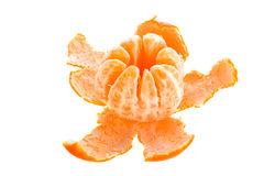 Peeled sweet clementine. On white background Stock Photo