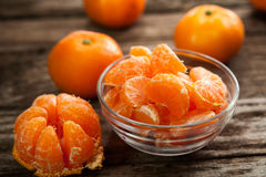 Peeled sweet clementines Stock Photography