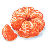 Peeled tangerine or mandarin fruit isolated Royalty Free Stock Photos