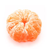 Peeled tangerine or mandarin fruit isolated on a white Stock Image