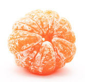 Peeled tangerine or mandarin fruit isolated on a white Stock Photos