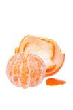 Peeled tangerine or mandarin fruit isolated Royalty Free Stock Photo